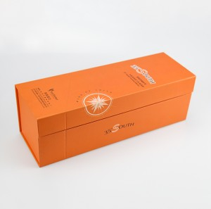 Orange Rigid Cardboard Gift Box Wine Packaging Recycled Paper Box