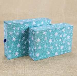Blue Star Logo Printing Cardboard Gift Packaging Box Drawer Gift Box with Ribbon