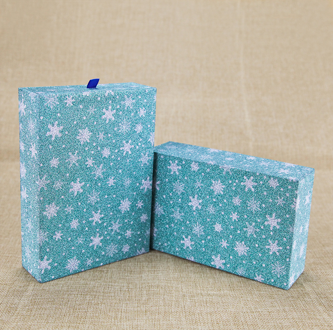 Beautiful Design Drawer Cardboard Gift Paper Packaging Box Blue Color Rigid Paper Box Featured Image