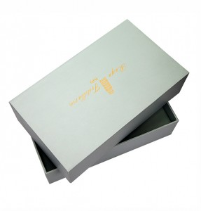 Customized Design Grey Cardboard Paper Gift Box Golden Hot Stamping Logo Packaging Gift Box