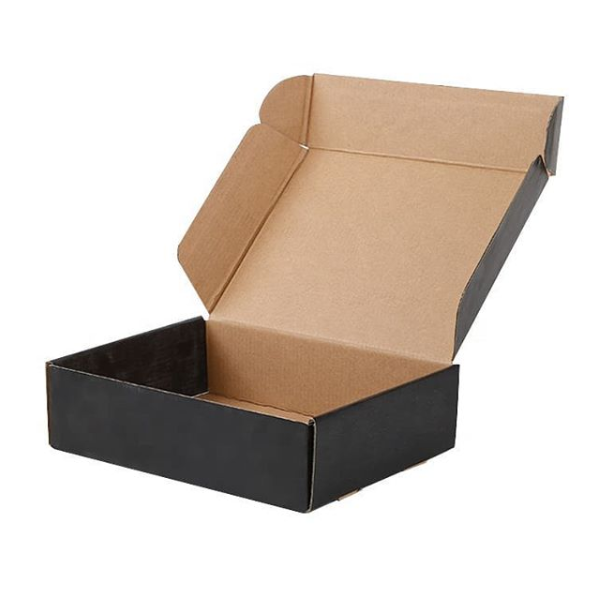 Custom logo printing folding paper corrugated packaging shipping mailer box Black cardboard gift box Featured Image