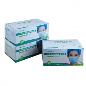 Top Grade China Disposable 3ply Mask, 3 Ply Face Mask Ear Loop in Stock Factory Supplier