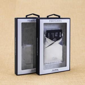 Custom Phone Case Box Black Size with Hook Transparent Plastic Window
